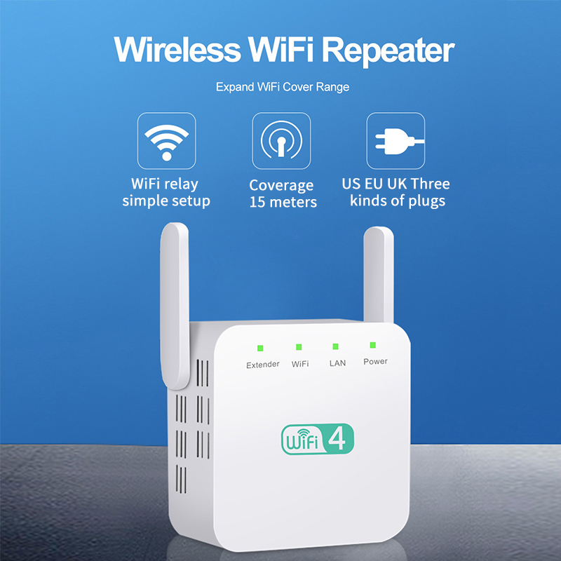 2.4G WiFi Repeater Pro 300M Amplifier Network Expander Router Power Extender Roteador 2 Antenna for Router Wi-Fi