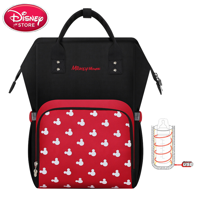 Disney Bag Mickey Mouse Mouse Backpack USB Heating Mom Baby Bags Maternity Handbag Travel Mummy Diaper Bag for Baby Care