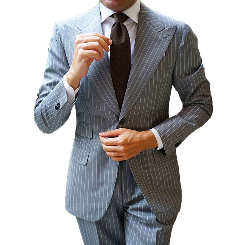 2020 New Arrival Formal Men's Suits Slim Fit 2 Pieces  Tuxedos Classic Stripe Business Suit For Wedding Grooms(Jacket+Pants)