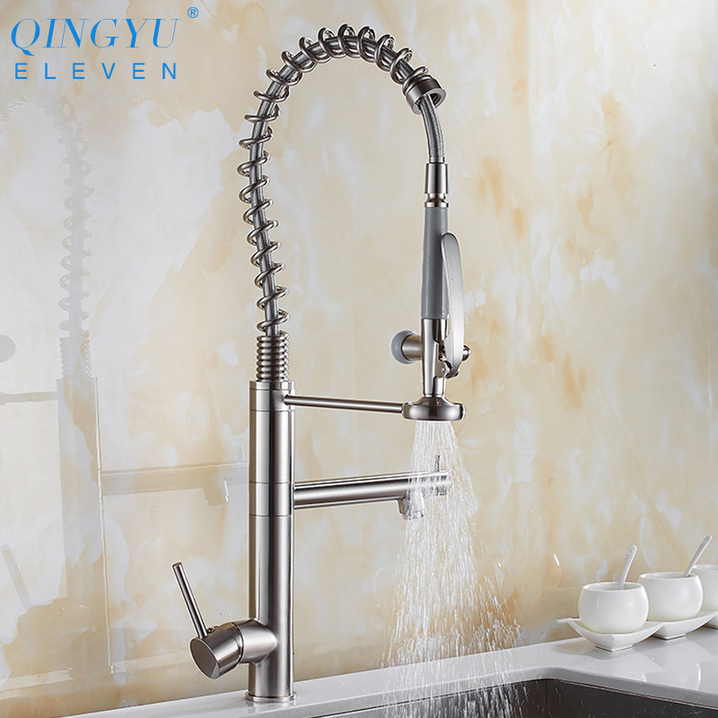 Brushed kitchen faucet High Spring Pull out Side Sprayer Mixer Tap Kitchen Sink Faucet 360 Rotation Kitchen Faucets