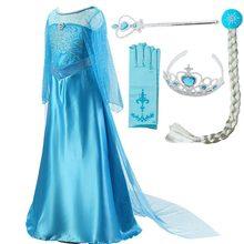 Meninas elsa vestido trajes para crianças anna traje cosplay vestidos roupas crianças vestido de festa vestidos