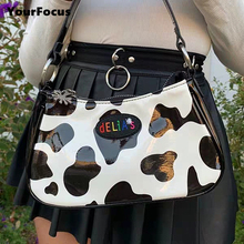 Vintage harajuku PU leather baguette bag kawaii cute sweet cow pattern spot handbag mini underarm bag axillary pouch