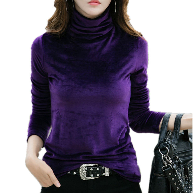 Plus Size 4XL Thick Warm Winter Velvet Top Female Turtleneck Pullovers Long Sleeve Warm Women's Turtleneck Sweater Shirt Lady