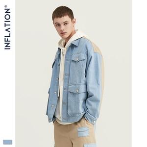 Image 2 - INFLATIE Mannen Denim Mannen Pak Herfst Winter Mode Mannen Blazer Jeans Pak Losse Fit Uitloper Denim Mannen Pak Spliced Jeans suits
