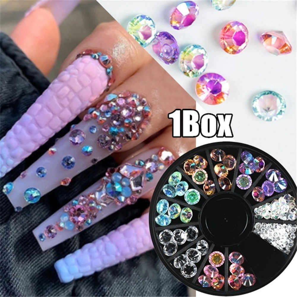 Colorful 3D Nail Art Rhinestones Shining Color Nail Rhinestone Gem 3D Crystal for Nail Art Stone Gold Diamond Glass Manicure