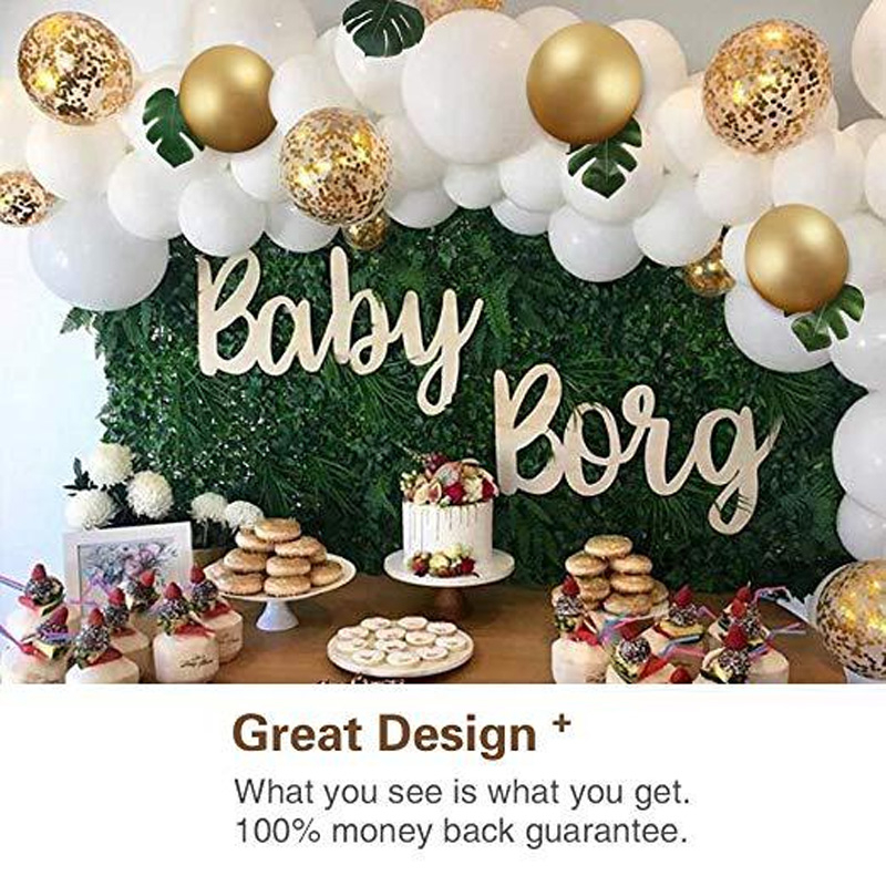 100pcs Birthday Party Wedding Decoration White Gold Confetti Latex Balloons Arch With Bonus Leaves Palm Leaf Toys For Children