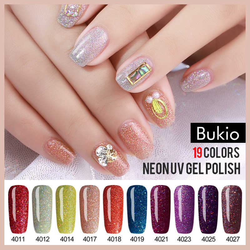 Bukio 5ml ฤดูใบไม้ร่วงฤดูใบไม้ร่วงฤดูหนาวใหม่ชุดเจลเล็บ Rainbow Neon เจลสี Soak Off UV เล็บ lacquer Nail Art