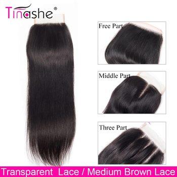 Tinashe włosy Hd przezroczyste zamknięcie koronki brazylijskie proste włosy ludzkie bez zapięć środkowe trzy części 4X4 szwajcarskie zamknięcie koronki tanie i dobre opinie Remy włosy 150 4 x 4 Przezroczysty Brazylijski włosy Swiss koronki Ręka wiążący Pure color NONE 1 sztuka tylko