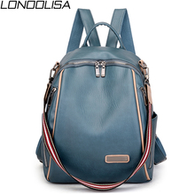 New Women Multifunction Backpack High Quality Soft Leather College Bags