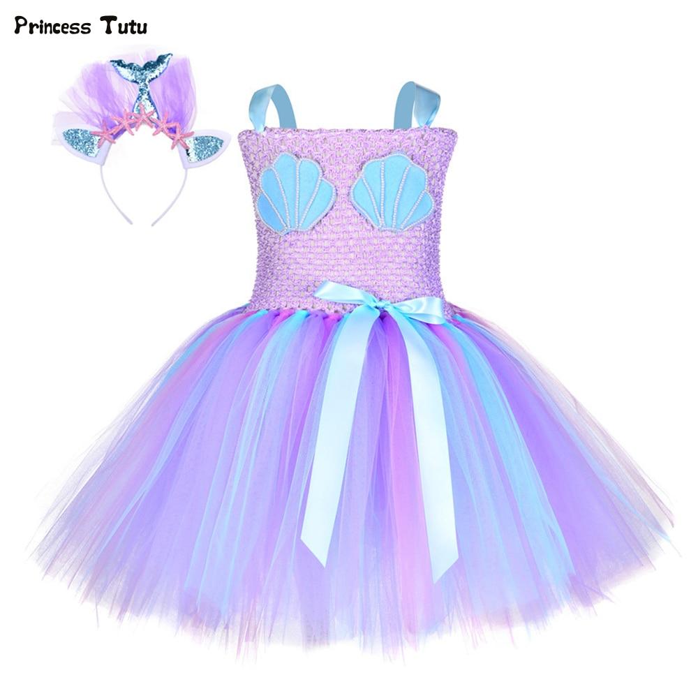 US Kid Girl Cartoon Mermaid Snow White Princess Tutu Dress Party Pageant Clothes