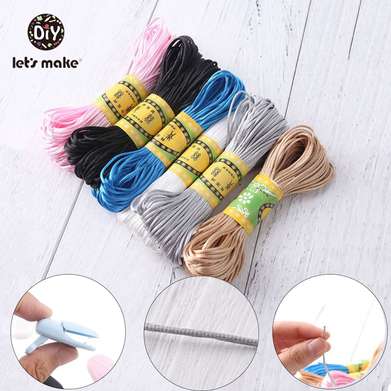 20m Nylon Teether Accessories Teething Necklace Rattail Teething Cord DIY For Jewelry Pendant Tool Cord For Teethers Let's Make