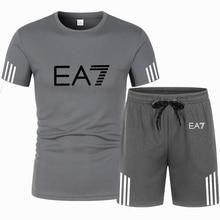 Brand men's sportswear kit short sleeve sports sport shirt men running 2pcs suit for soccer gym fitness men t-shirts+shorts sets
