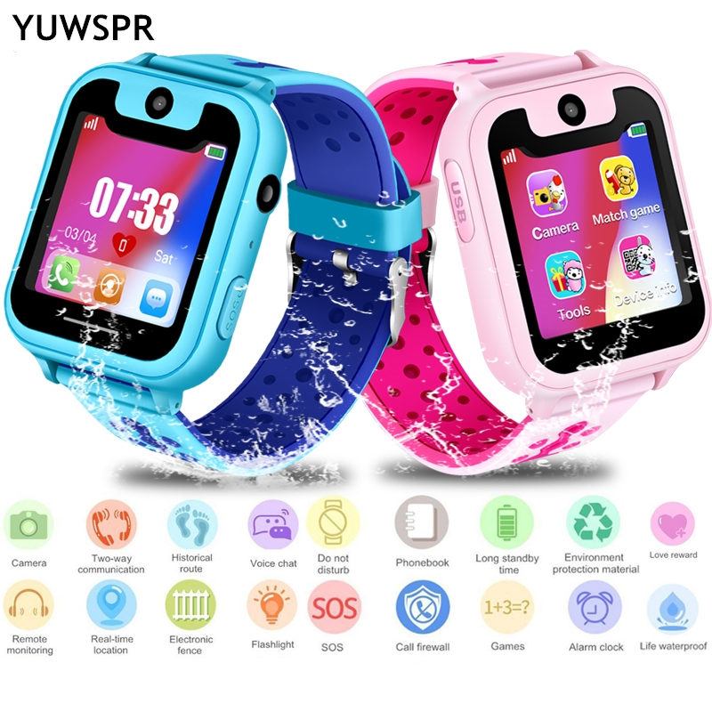 "Kids GPS Tracker Watch Life Waterproof 1.54"" Touch Screen Camera SOS Call GPS Location Device Tracking Children Smart Clock S6"