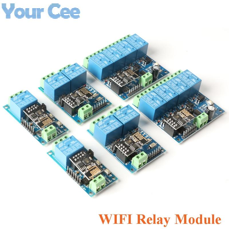 ESP8266 5 в 12 в 1, 4-Канальный Релейный модуль Wi-Fi, умный дом, пульт дистанционного управления, переключатель ESP01, Wi-Fi, беспроводной модуль, приложен...