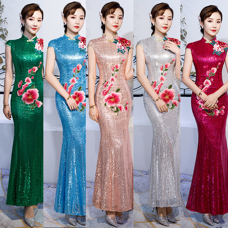 2020 New Sale Long Style Host Etiquette Fish Tail Character Self-cultivation Women's Daily Annual Meeting Improvement Cheongsam
