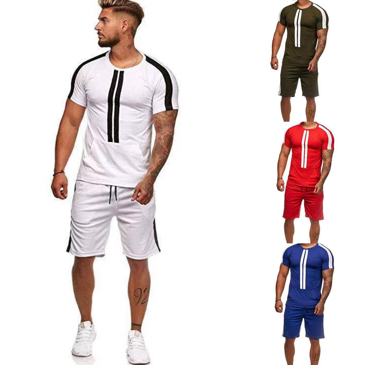 2020 NEW Summer Fashion Men's T Shirt And Shorts Stripe Sets Fit Short Sleeve Casual Sets Outdoor Sports Sets Sliod Color TZ002