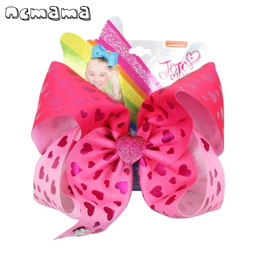 8/'/' Lovely Bowknot Girls Clip Printed Heart Hairpins Boutique Hair Bows Hairgrip