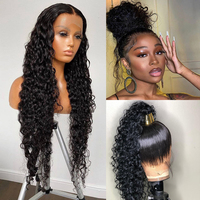 360 Lace Frontal Wig 28 30 Inch Water Wave 13x4 Lace Front Wig Human Hair Wigs Deep Curly Glueless Virgin Brazilian 180% Density 1