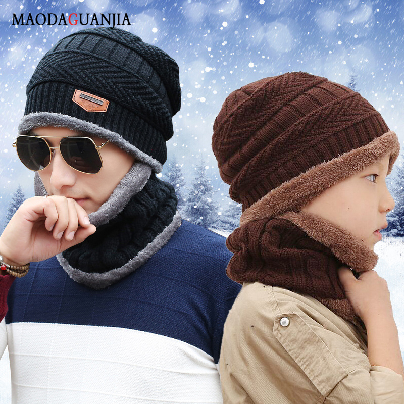 LEOSOXS Neck Warm Knitted Hat Scarf Set Fur Wool Lining Thick Warm Knit Beanies Balaclava Winter Hat For Men Baby Cap Scarf Set