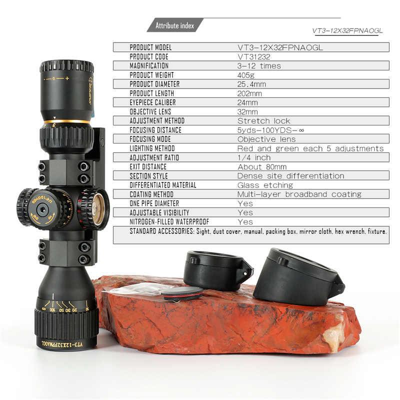 SNIPER VT 3-12X32 FFP Hunting Compact Optical Sight Tactical Riflescope Glas Geëtst Reticle Rood Groen llluminate hunting optics