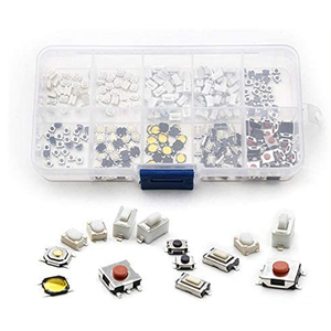 250Pcs 10-Types Tactile Push Button Switch Car Remote Control Keys Button Touch Microswitch