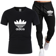 2021 new Brand printing men's T-shirt 2-piece sportswear men's short sleeve+pants pullover sportswear suit casual men's clothing