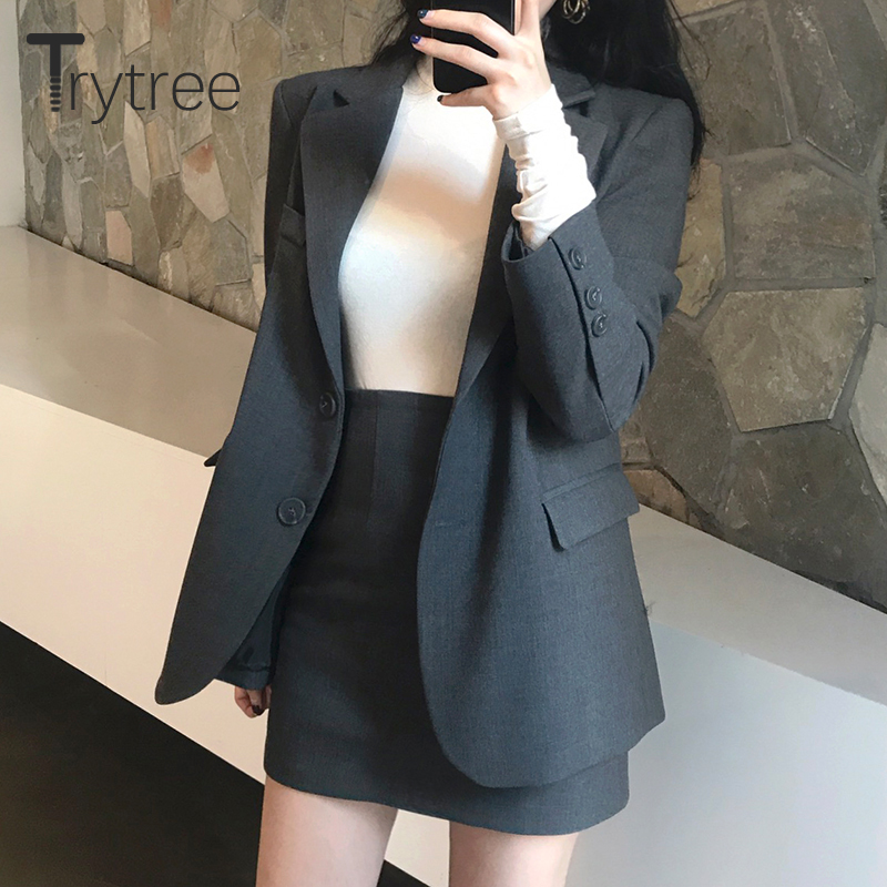 Trytree Autumn Winter Women Two Piece Set Casual Turn-down Collar Single Breasted Tops + Skirt Mini Office Lady Suit 2 Piece Set
