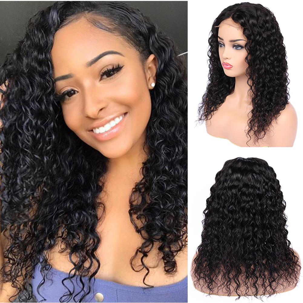 FAVE Brazilian Remy Human Hair Wig 4x4 Lace Closure Water Wave Wigs 150% Density 8-24