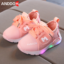 Shoes Baby Children Light-Sneakers Luminous-Sole for with Led-Light Glowing Size-21-30