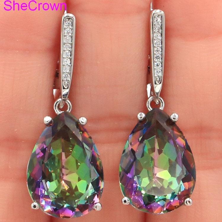 35x13mm Deluxe Water Drop Shape 18x13mm Fire Rainbow Mystic Topaz CZ Ladies 925 Silver Earrings