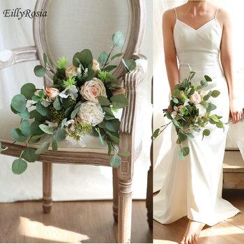 EillyRosia Country Wedding Bouquet Mariage Round Leaf Eucalyptus Champagne Roses Outdoor Bridal Bouquet Artificial Flowers 2020