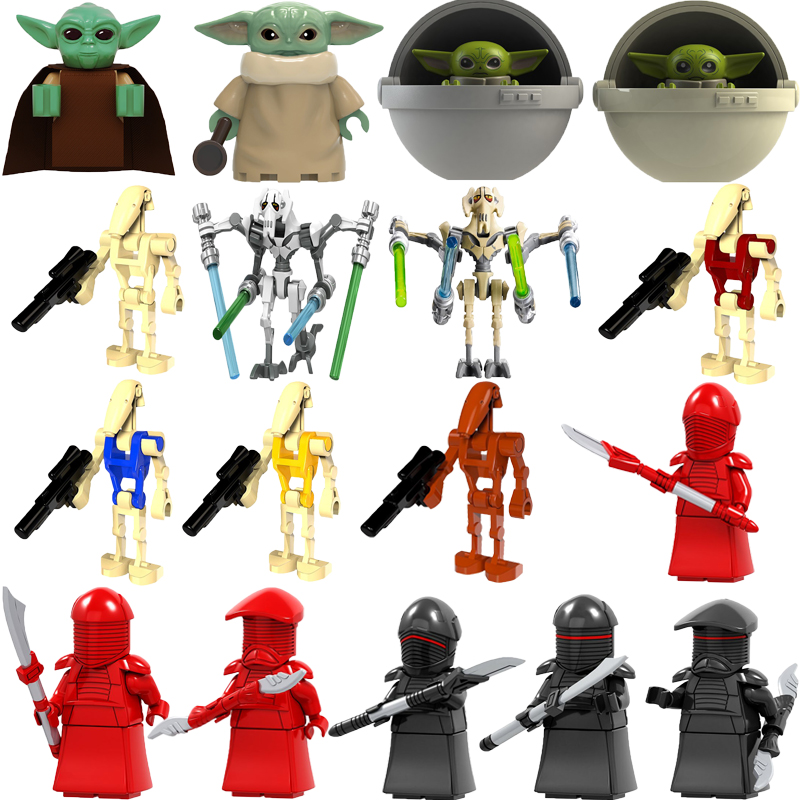 Star Wars Baby Yoda Mandalorian Battle Droid Rouge One Combat Robot Starwars Trooper Model Kit Building Blocks Kids Boys Toys image