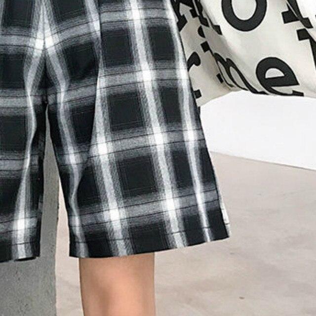 Shorts Women Summer Black Plaid Cotton Loose Korean-style Summer high waist Harajuku Simple Oversize Trousers Female Shorts 6