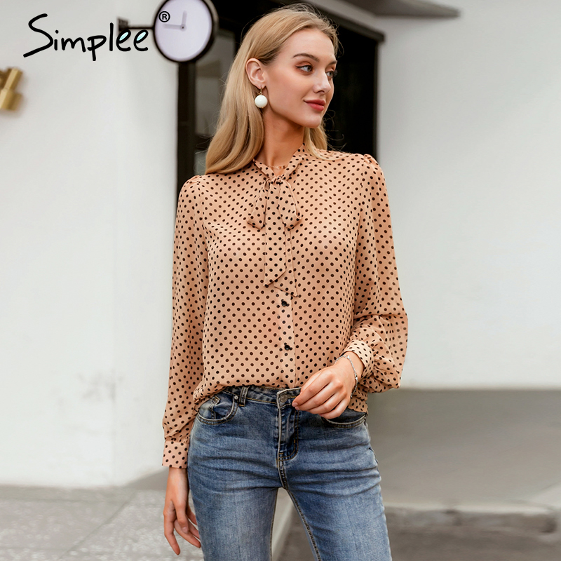 Simplee Vintage Polka Dot Long Sleeve Women Blouse Shirt Casul Spring Neck Tie Blouse Elegant Work Wear Loose Female Office Top