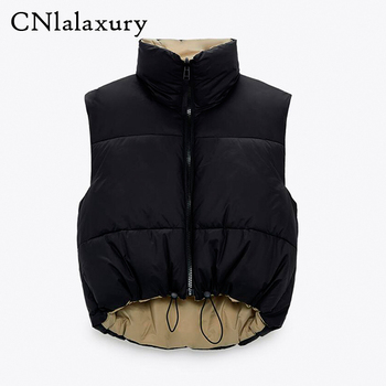 2021 Spring Black Cropped Vest Coat Women Fashion Warm Sleeveless Parkas High Collar Waistcoat Female Casual Outerwear Chic Top 1
