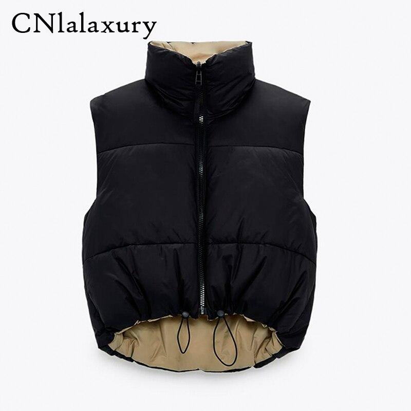 Зима 2021, черный укороченный жилет, пальто, женская модная теплая парка без рукавов, жилет с высоким воротником, женская повседневная верхняя...