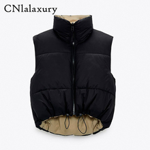 Cropped Vest Outerwear Parkas Waistcoat Chic-Top Female Black Casual Fashion Winter Sleeveless
