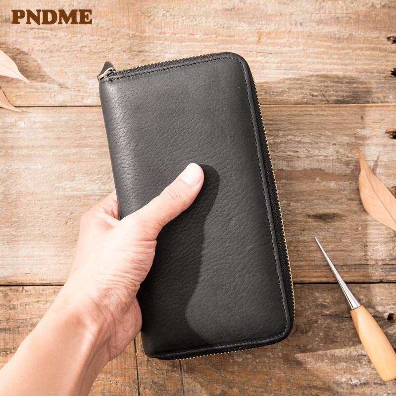 PNDME décontracté simple de haute qualité en cuir véritable pour hommes pochette pour femmes sac portefeuille de luxe fête souple noir carte de crédit téléphone sac à main