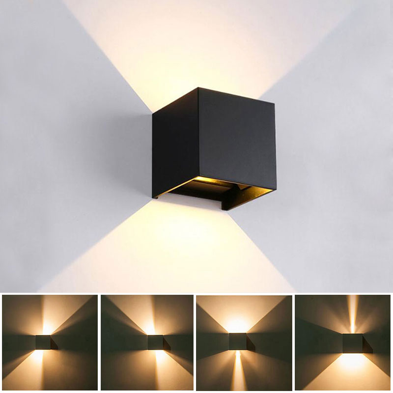 12W LED  Wall Light Indoor & Outdoor Waterproof IP65 With Adjustable Beam Angle Design Cube LED Garden Porch Wall Lamp