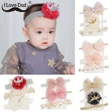 3 Pcs/Set Baby Headband Lace Flower Crown Newborn Headbands Hair Bands For Girls Bows