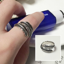 Fashion Sterling Silver Ring Micro-inlaid Zircon Opening Ring Personality Feather-shape Rings for Women Jwelry chic feather shape cuff ring for women