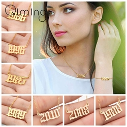 Handmade Birth Year Necklace Women Gothic Date Necklace Gold Jewelry Stainless Steel 1999 2000 2001 2002 Bijoux Femme