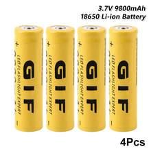 4 шт. GIF 18650 Батарея Фирменная Новинка 3,7 V 9800 мА/ч, литий зарядки Перезаряжаемые батарейки литий-ионный аккумулятор с плоским верхом желтый фо...