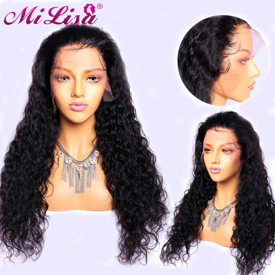 Water Wave Lace Front Human Hair Wigs With Baby Hair Nature Color 10- 24 Inches 150 Brazilian Pre Plucked Mi Lisa Remy Hair