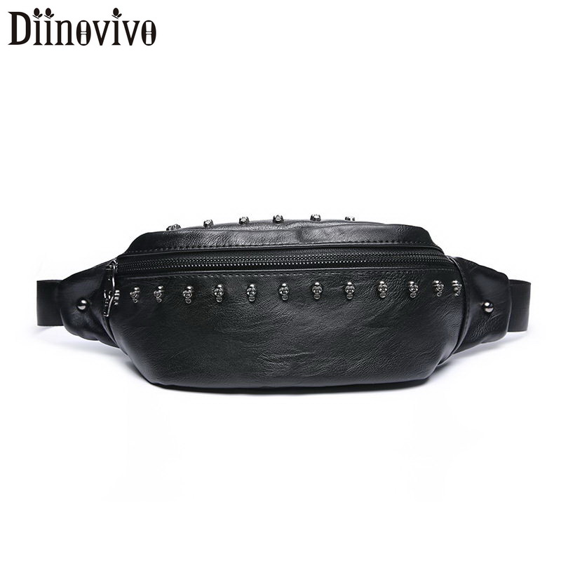 DIINOVIVO Rivet Waist Pack Women Skull Designer Chest Bags Female Banana Bag PU Leather Fanny Pack Waist Bags Travel WHDV1338