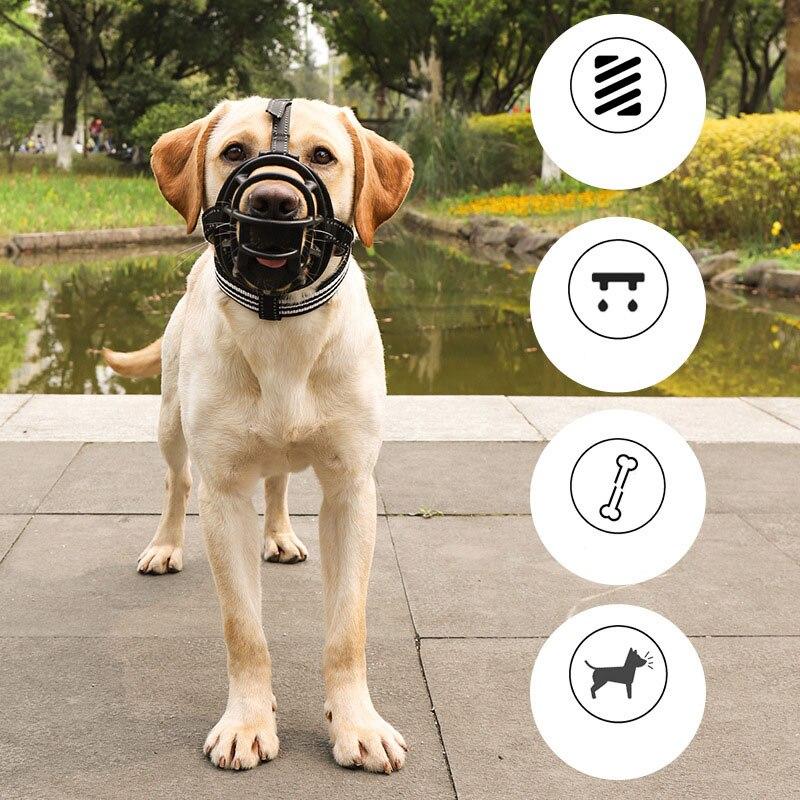 Reflective Dog Muzzle Mask Anti-biting Silicone pet Mouth Muzzles Adjustable Anti Barking mouth cover Small Medium Large Dogs