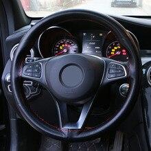 O SHI CAR Tampa Da Roda de Direcção do carro Volante De Couro PU Roda Trança Para 15 Polegada/38 centímetros Carro de Costura de Mão DIY volante cobre Preto