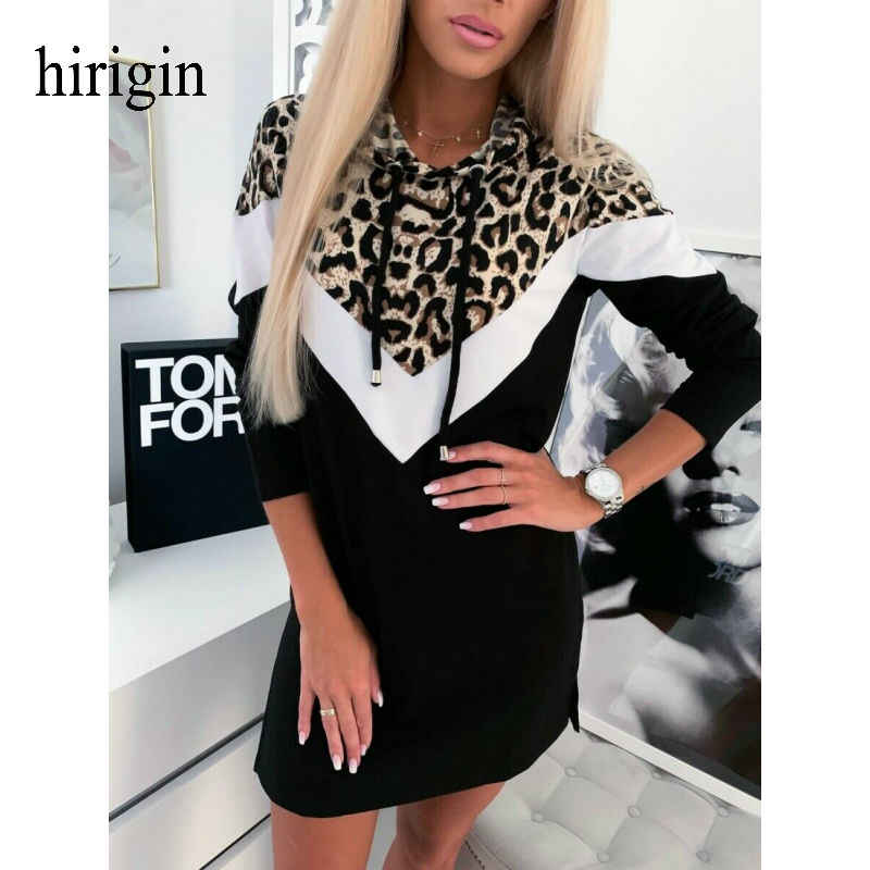 Hirigin Fashion Vrouwen Sexy Lange Mouwen Jurk Winter Christmas Party Losse Jurk Herfst Sexy Leopard Hooded Lace-up Mini jurken