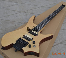 New Fan Frettted Headless Electric Guitar,Natural Flame Maple Top Mahogany Body&Rosewood Fingerboard(China)