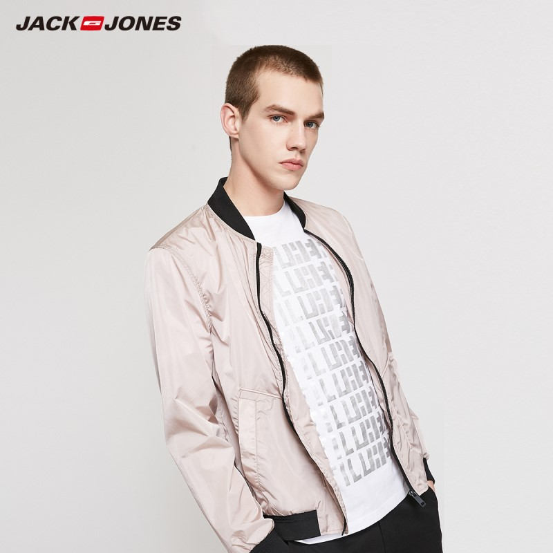 JackJones Men's Pure Color Baseball Collar Waterproof Sun-protective Sports Jacket 219221506